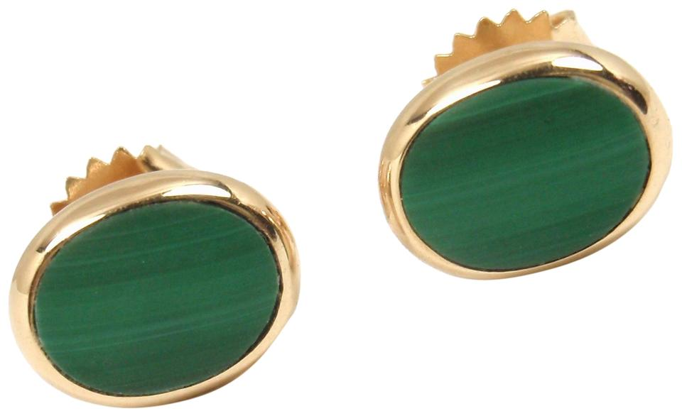 Vintage Larter Sons 14k Yellow Gold Malachite Stud Earrings