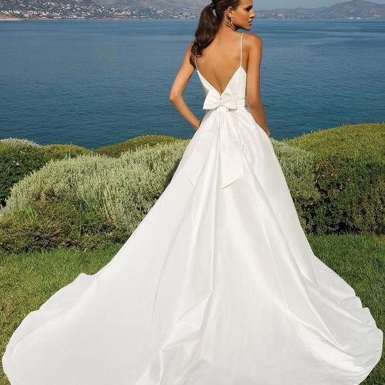 Justin Alexander Ivory Silk Duponi A-line with Deep V-back and V ...