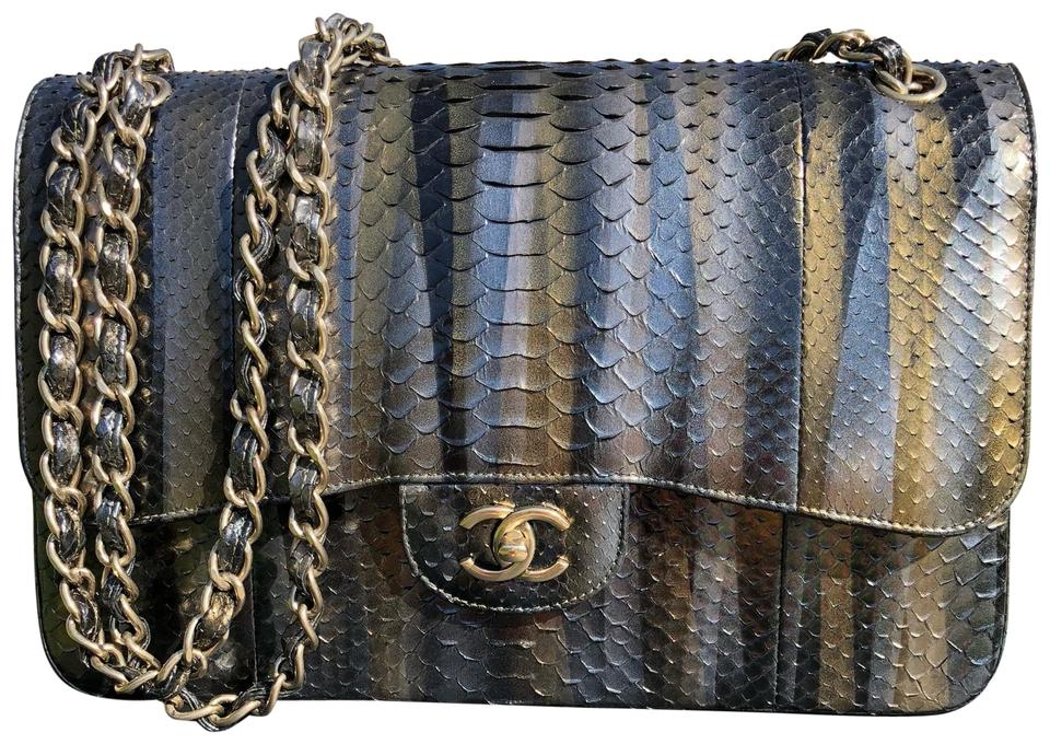 b7a2b5e2f832 Chanel Classic Flap Like New Jumbo Multi Metallic Python Shoulder ...