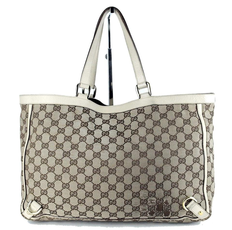fed36df1c40 Gucci Abbey Vintage Purses Designer Purses Brown Large G Logo Print Canvas  and White Leather Tote - Tradesy