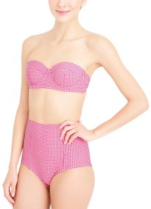 J.Crew NEW J. CREW RED WHITE GINGHAM CHECK HIGH WAISTED RETRO BIKINI 2PC