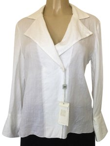 Armani Collezioni Shirt Button Longsleeve Bamboo Button Down Shirt white