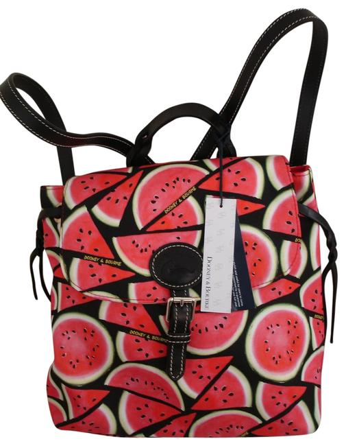 Item - Watermelon Fresh Cut Slices Red White Green Black Nylon Leather Backpack