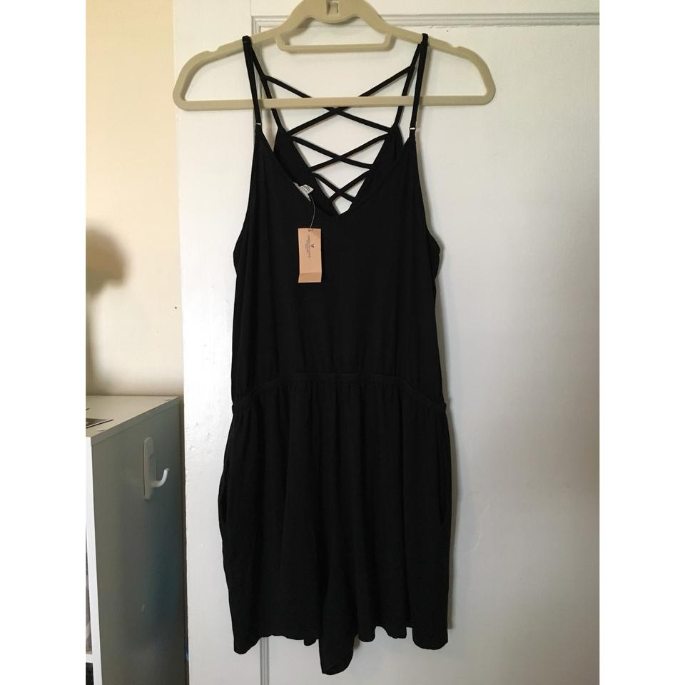a77588195a4 American Eagle Outfitters Black Cross Front Strappy Romper Jumpsuit ...