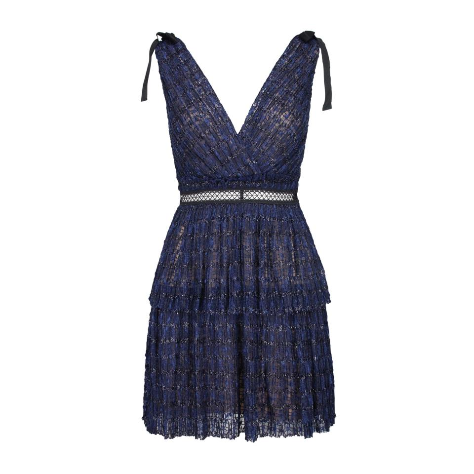 367158821353 self-portrait Blue Pattern Mesh Mini Short Cocktail Dress Size 8 (M ...