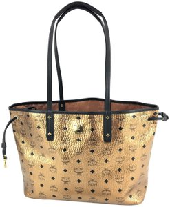 MCM Canvas Shopping Tote in Gold