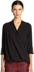 Helmut Lang Draped Wrap Casual Structured Top Black