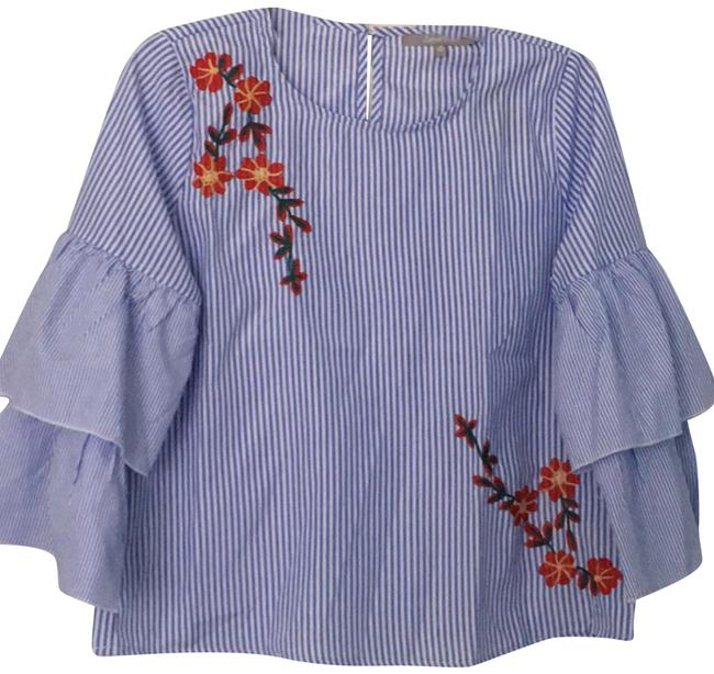 Item - Blue & White Embroidered Blouse Size 8 (M)