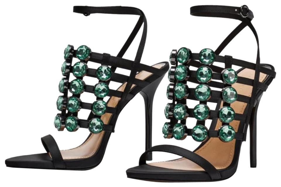 Zara Black/Green Jewelled New with Tags and Jewelled Black/Green Sandals 2a2556