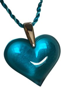 Lalique Large Blue Heart Pendant With Sterling Bail By Lalique