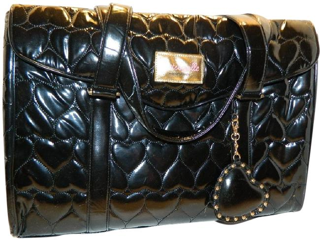 Item - ~nwot~rare Huge Quilted Hearts Black/Gold Faux Vegan Leather Laptop Bag
