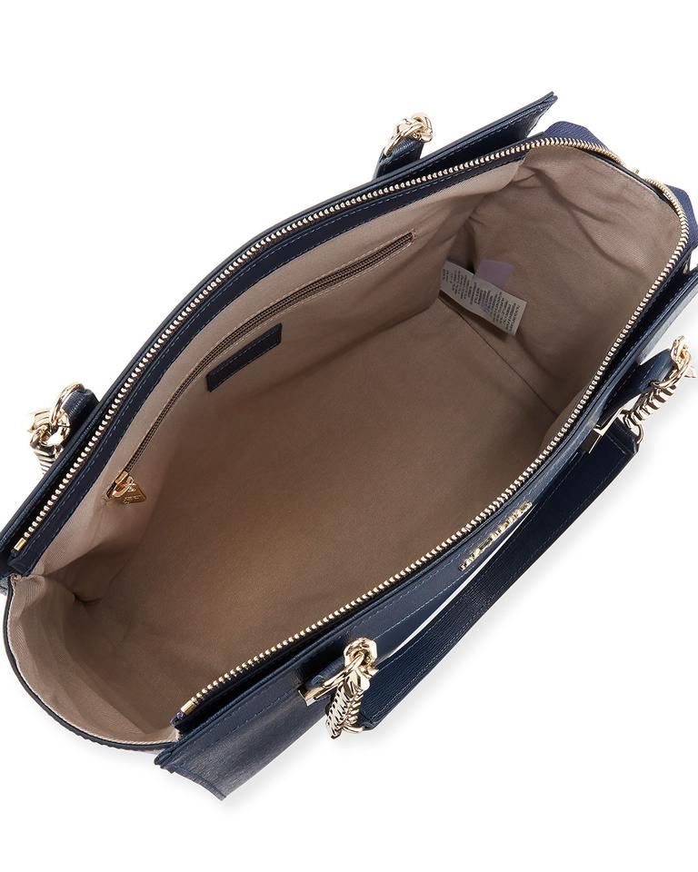 Bag Navy Blue Collection Chain Saffiano Leather Shoulder Versace tB0qwg1B