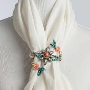 Studio Coral and Turquoise Flower Scarf Twist