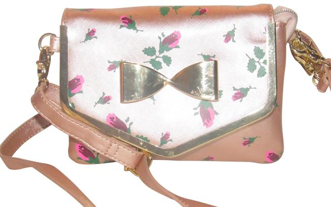 Item - Nwot Purses/Designer Purses Rose Gold Leather with Painted Rose Print Cross Body Bag