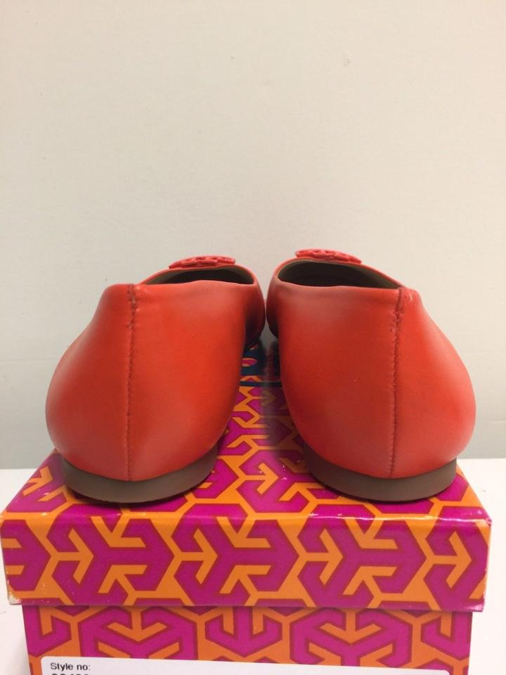 a7e3332c6664 Tory Burch Poppy Red Powder Coated Melinda Leather Flats Size US 8 ...