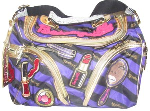 Betseyville by Betsey Johnson Nwots/Mint Condition Style Exterior Zip Pockets Retro Kitschy Style Satchel in striped purple and black logo print fabric and gold leather with embroidered patches