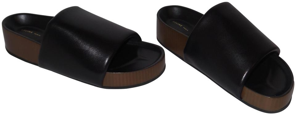 469cee3c5129d0 Céline Black Leather Padded Band Slides Slippers Sandals Size EU 40 ...