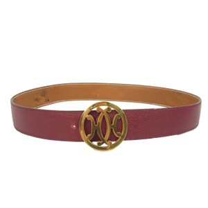 Hermès Vintage Brown Reversible Couchevel Leather Double H Logo Belt 70