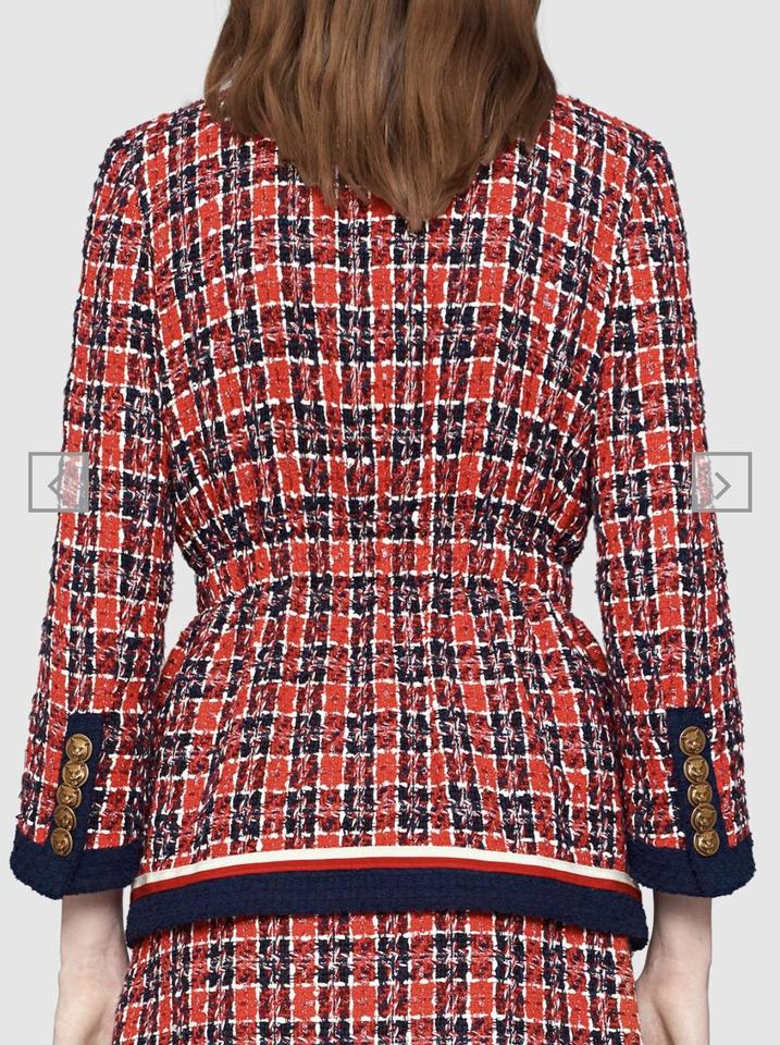 ebd98465 Gucci Multicolor Tweed Check Jacket New Collection Pre-fall 2018 Skirt Suit  Size 6 (S)