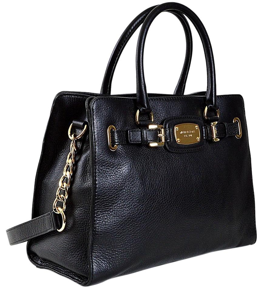 bf0cf121527c Michael Kors Hamilton Large Satchel Chain (New with Tags) Black/Gold  Hardware Leather Tote