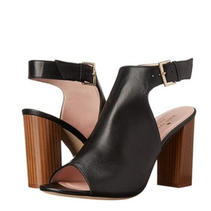 Kate Spade Heeled Wooden Heel High Chunky Heel Black Leather Sandals