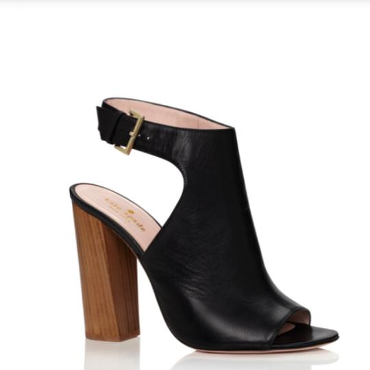 Kate Spade Heeled Wooden Heel High Chunky Heel Black Leather Sandals Image 1