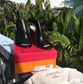 Kate Spade Heeled Wooden Heel High Chunky Heel Black Leather Sandals Image 5