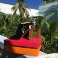 Kate Spade Heeled Wooden Heel High Chunky Heel Black Leather Sandals Image 7