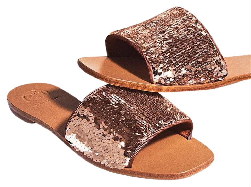 118b7588076a Tory Burch Rose Gold Blush Pink New Sequin Flats Slides Sandals Size ...