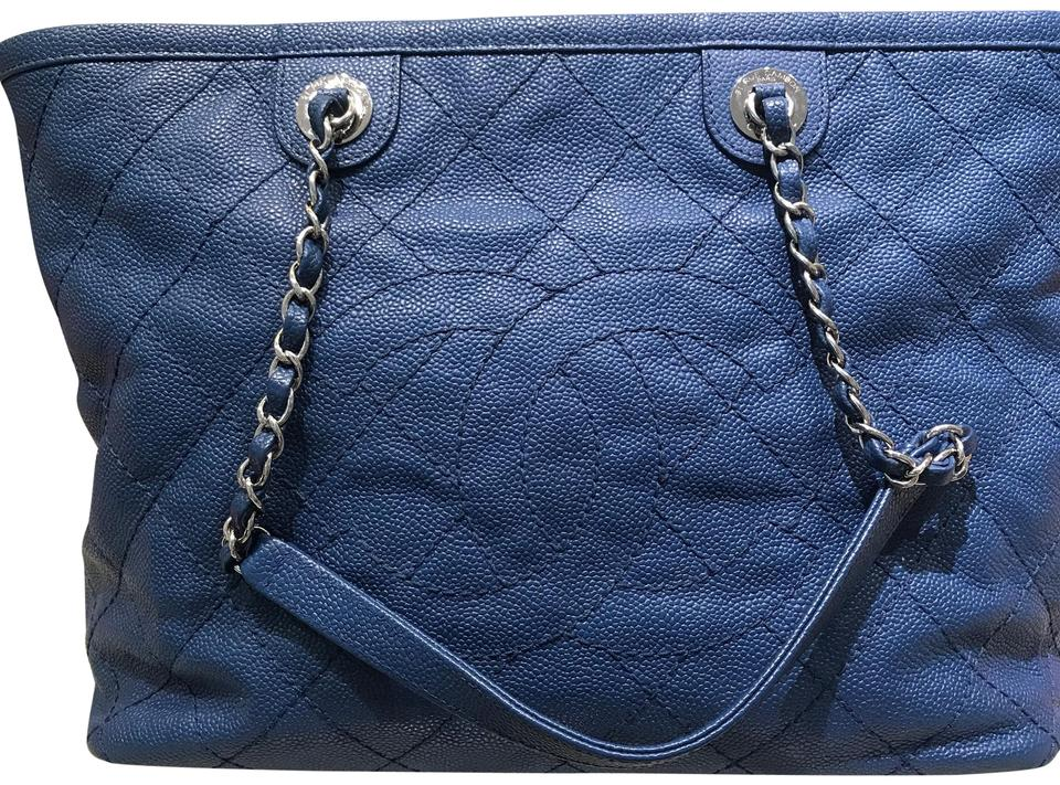 bf46f76ee0290c Chanel Shopping Quilted Cavier Medium Zip Cc Blue Leather Tote - Tradesy