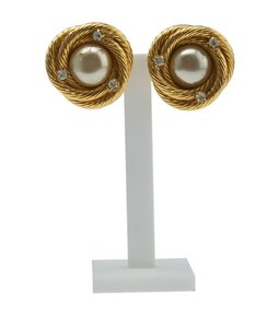 Chanel Chanel Faux Pearl Gold-ton Earrings (141078)