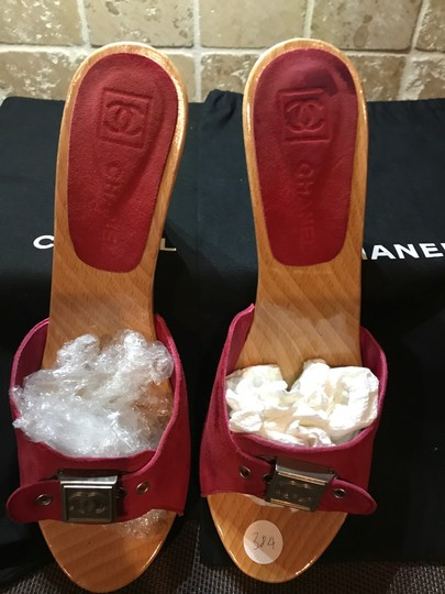 Chanel Red Suede Sandals