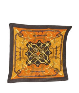 Hermès Hermes Eperon d'Or Orange & Brown Silk Scarf (141080)