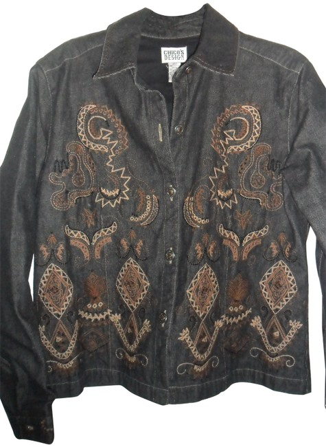 Preload https://img-static.tradesy.com/item/23679372/chico-s-denim-black-boho-aztec-embroidery-and-beading-jacket-size-6-s-0-1-650-650.jpg