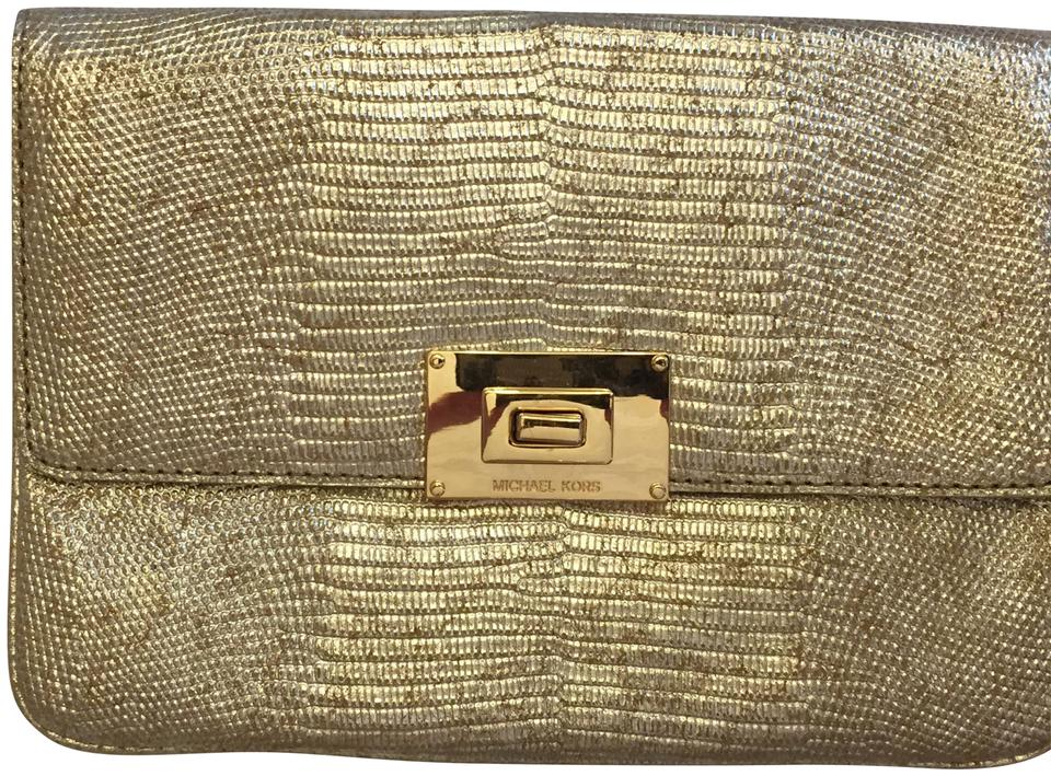848cad24499a MICHAEL Michael Kors Mk Sloan Gold Genuine Leather Clutch - Tradesy