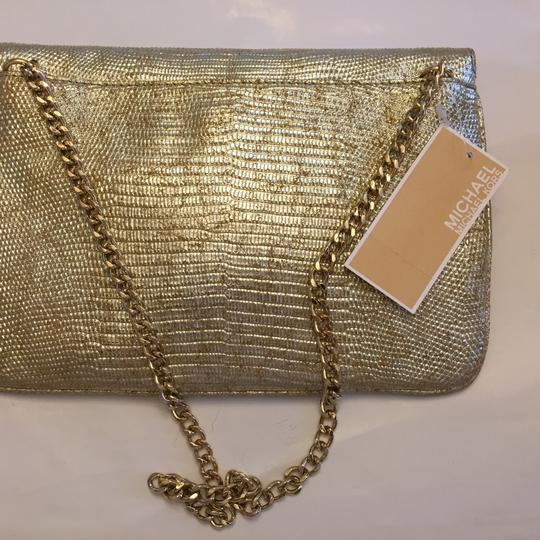 MICHAEL Michael Kors Leather Gold Clutch