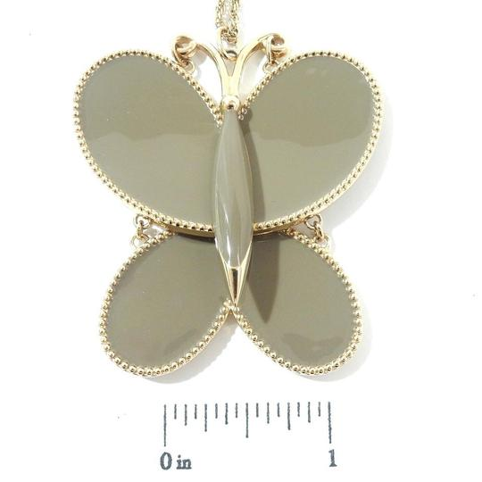 Chloé Chloe Gold Toned Grey Butterfly Charm Chain Necklace Pendant