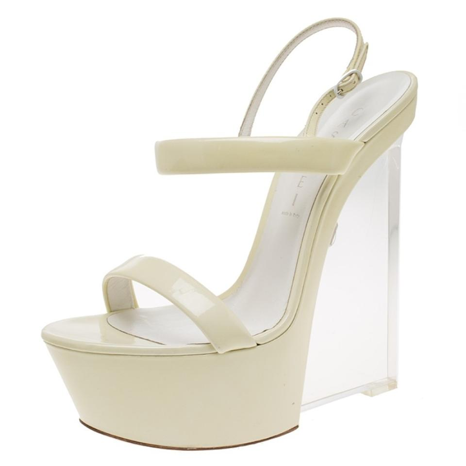 Cream Patent Leather Plexiglass Slingback Sandals Wedges