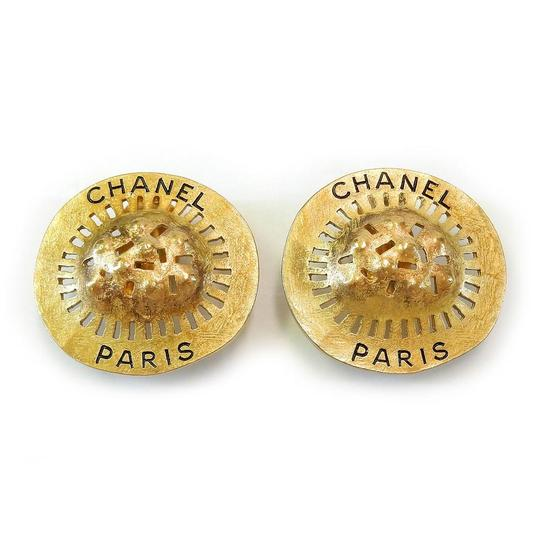 Chanel CHANEL Rare Gold Plated CC Vintage Clip Earrings