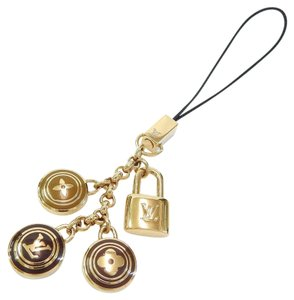 Louis Vuitton Gold & Brown Tone LV Padlock Charm Accessory Cell Phone Strap