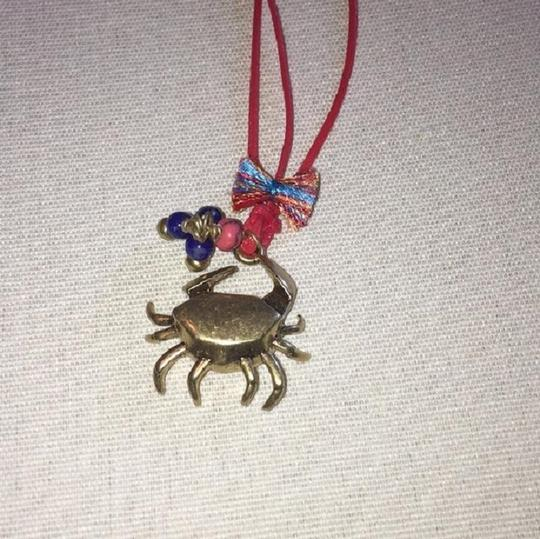 Tory Burch New with Large Box Crab Charm Pendant Necklace, 22