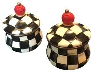 Mackenzie Childs Courtly Check Enamel Lidded Sugar Bowls