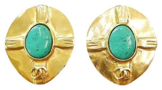 Preload https://img-static.tradesy.com/item/23679497/chanel-turquoise-gold-plated-cc-logos-vintage-clip-earrings-0-1-540-540.jpg