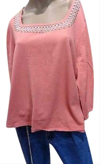 Preload https://img-static.tradesy.com/item/23679531/cable-and-gauge-orange-women-coral-beaded-neckline-blouse-size-20-plus-1x-0-1-650-650.jpg
