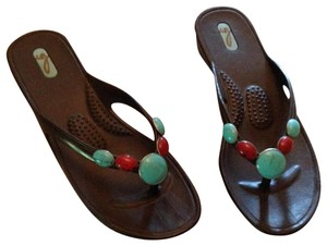 ca4bbbbd5447 OKA b. Black with red and Aqua beads Sandals