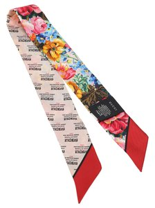 Gucci Stamp and Flowers Silk Print Neck Bow Twilly