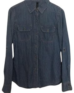 Seven7 Button Down Shirt Blue with white stripes
