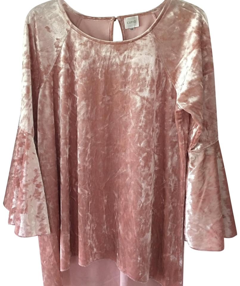 907512adc1bd5 Cupio Pale Pink Crushed Velvet Blouse Size 12 (L) - Tradesy