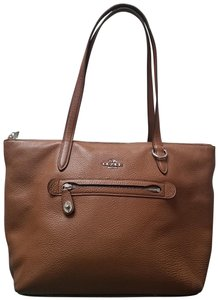 Coach Taylor Cognac Color Pebbled Leather Tote in Silver/Stone