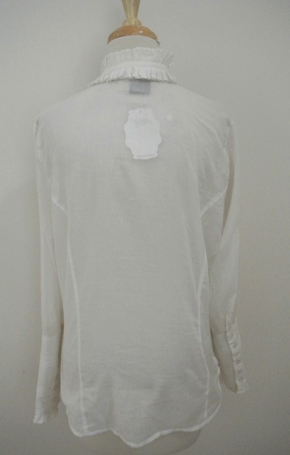 Hale Bob Tie Neck Ruffle Long Sleeve Cotton Lightweight Top white